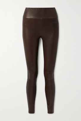 Sprwmn Leather Leggings - Chocolate