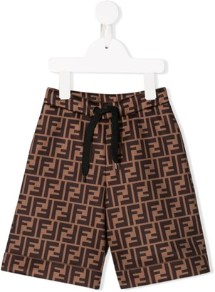Fendi Kids FF print track shorts