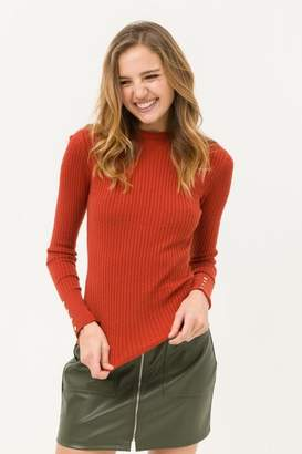 Love Tree Button Sleeve Detailed Sweater