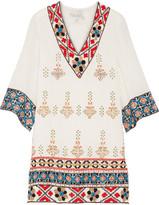 Alice + Olivia Ray Embroidered Embellished Cotton-gauze Mini Dress - White