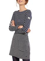Joules Isabel Jersey Jacquard Mini Skirt, Navy Cream Geo