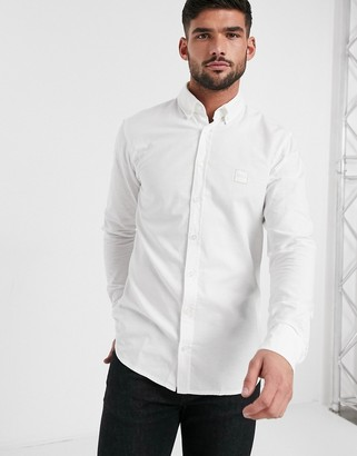 BOSS Mabsoot button down collar oxford shirt in white