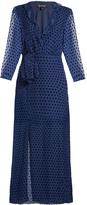 Saloni Jennifer velvet 3/4-length sleeve dress