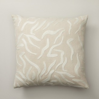 "Indigo Squiggle Almond Pillow Cover 18"" X 18"""