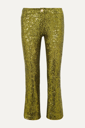 Balmain Cropped Sequined Stretch-tulle Flared Pants - Gold