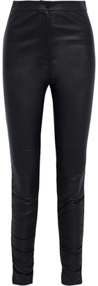 alexanderwang.t Ruched Leather Skinny Pants