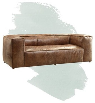 "Analise Genuine Leather Chesterfield 98"" Square Arm Sofa Foundstone"