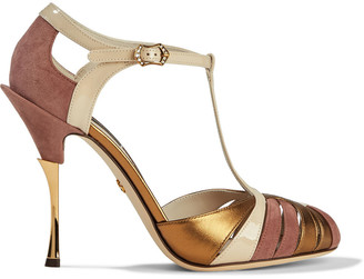 Dolce & Gabbana Kiera Suede, Patent And Metallic Textured-leather Sandals
