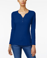 Karen Scott Cotton Long-Sleeve Henley, Created for Macy's