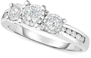 TruMiracle Diamond Trinity Engagement Ring (1/2 ct. t.w.) in 14k White Gold