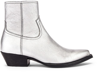 Saint Laurent Lukas Ankle Boots in Silver | FWRD