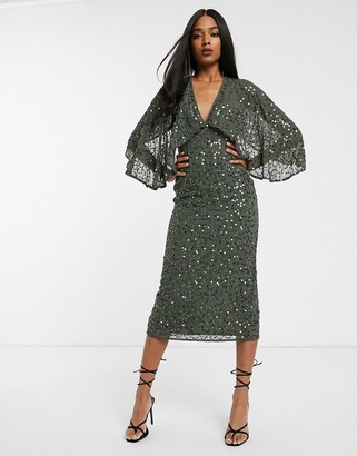 Asos Design DESIGN midi dress with cape kimono sleeve in scatter sequin