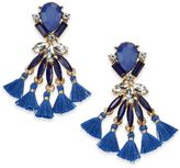 INC International Concepts Gold-Tone Stone and Tassel Drop Earrings, Created for Macy's