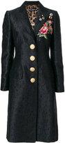 Dolce & Gabbana embroidered rose patch jacquard coat - women - Silk/Polyester/Spandex/Elastane/Viscose - 38