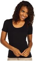 Three Dots Lightweight S/S Scoop Neck (Black) Women's T Shirt