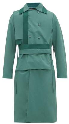 Craig Green Knitted Panel Technical Fabric Trench Coat - Mens - Turquoise