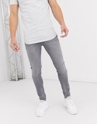 Jack and Jones Intelligence skinny fit stretch jeans in light grey