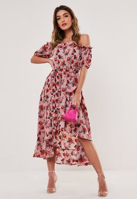 Missguided Pink Floral Bardot Wrap Midi Tea Dress