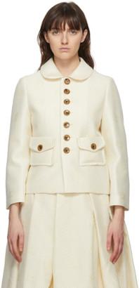 Comme des Garcons White Wool Floral Jacket