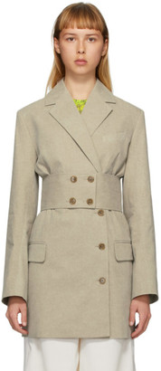 Rokh Beige Belted Blazer Dress