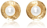 Oscar de la Renta Pearl Gold Disc Button Earrings