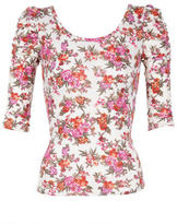 Delia's Floral Print Ruched Short Sleeve