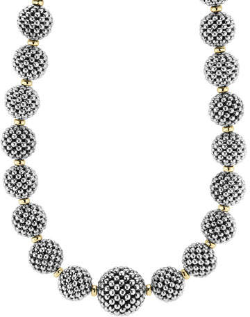 Lagos Sterling Silver Caviar Lattice Ball Necklace, 17""
