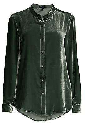 Eileen Fisher Women's Mandarin Collar Velvet Shirt