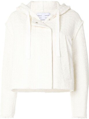 Proenza Schouler White Label Tweed Cropped Hooded Jacket