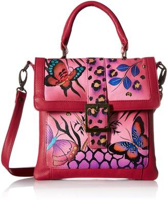 Anuschka Handpainted Leather 8074-ANB-P Flap Saddle Bag