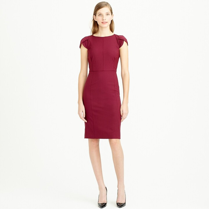 Thumbnail for your product : J.Crew Petite petal-sleeve dress in Italian stretch wool