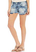 Miss Me Americana Exposed Pocket Frayed Hem Stretch Denim Cutoff Shorts