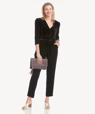 Women's Tie Waist Velvet Jumpsuit In Color: Rich Black Size XS From Sole Society
