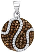 GnD 10kt White Gold Womens Round Cognac- Colored Diamond Circle Cluster Pendant 3/8 Cttw