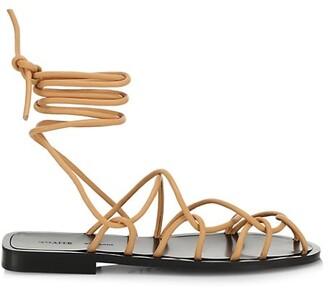 KHAITE Lyon Suede Lace-Up Sandals