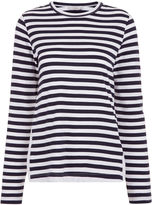 Clu Navy & White Striped Lace Panel Top