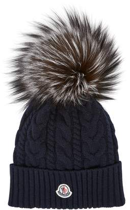 Moncler Navy Cable Knit Pompom Beanie