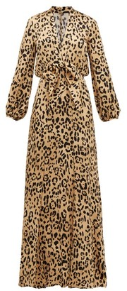 Temperley London Piera Leopard-print Hammered Silk-satin Maxi Dress - Leopard