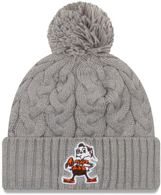 New Era Women's Gray Cleveland Browns Throwback Logo Swift Cable Cuffed Knit Hat with Pom
