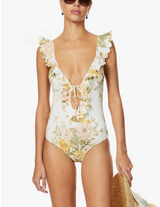 Zimmermann Amelie floral-print ruffle-trimmed swimsuit