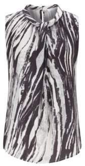 BOSS Sleeveless top in zebra-print Italian twill
