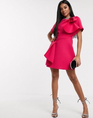 ASOS DESIGN t-shirt tuck detail mini skater dress in hot pink
