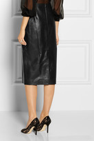 Oscar de la Renta Leather pencil skirt
