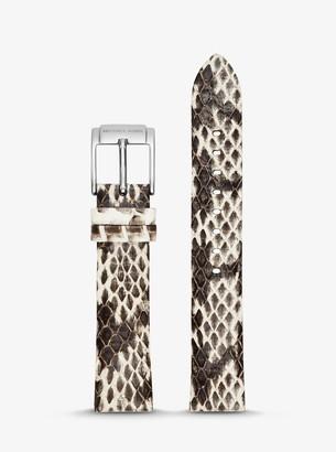 Michael Kors Runway Snake-Embossed Leather Watch Strap