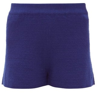 Barrie Stripe-stitched Cashmere Shorts - Womens - Navy
