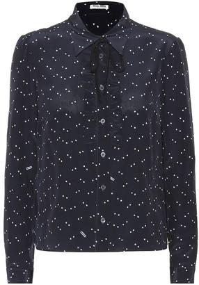 Miu Miu Star-printed silk blouse