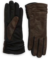 Lord & Taylor Leather Ruched Gloves