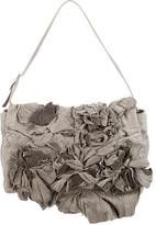 Valentino Suede & Leather Floral Shoulder Bag