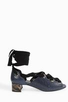 Erdem Snakeskin Lace-Up Block Heels