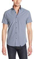 Stone Rose Men's Geometric Print Short Sleeve Button Down Shirt
